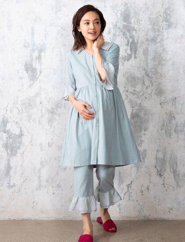 要出典 妊婦パジャマ スウィートマミー マタニティパジャマ シャツ風フリル ワンピースタイプ