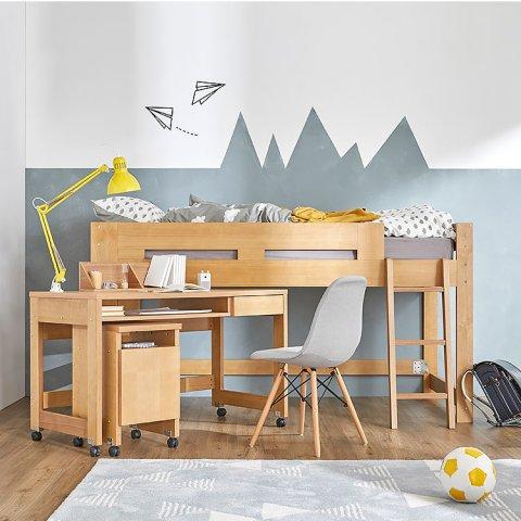 要出典 子供用ベッド ロウヤ 木製 ロフトベッド デスク付き ミドルタイプ