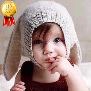 要出典 新生児 帽子 ベビーニット帽子 うさ耳付き