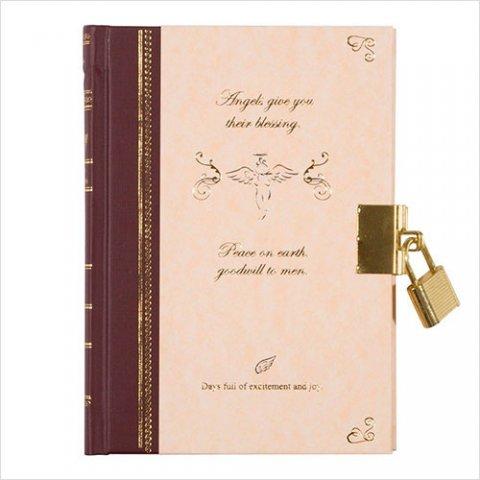 要出典 小学生 女の子 日記帳 鍵付 天使柄ピンク
