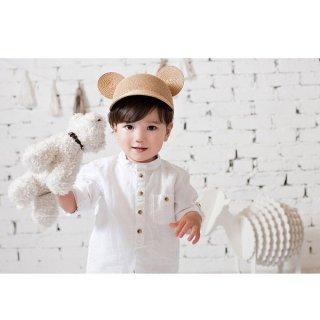 ステラキッズ 子ども用帽子 ストローハット 耳付き