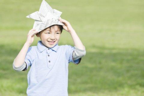 新聞紙 子供 日本人 兜 折り紙