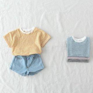 要出典 親子 お揃い Tシャツ 韓国子供服 ボーダー半袖Tシャツ 親子