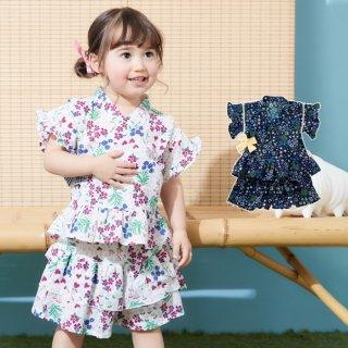 要出典 赤ちゃん 甚平 アンパサンド 小花柄 フリルスカート 甚平 女の子 ベビー