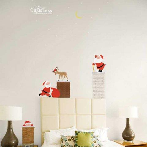 要出典 クリスマスステッカー ウォールステッカー クリスマス 煙突に登るサンタクロース