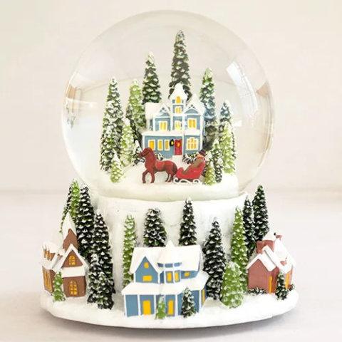 要出典 クリスマス 置物 スノードーム ハウス ネジ式オルゴール