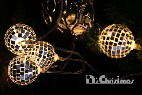 要出典 クリスマス オーナメント ボール 飾り 電池式の光るミラーボール クリスマス オーナメント