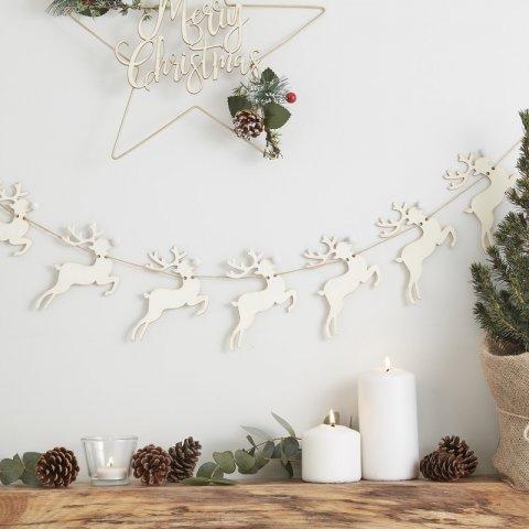 要出典 クリスマス 飾り付け Ginger Ray 木製 白いお鼻 トナカイのガーランド
