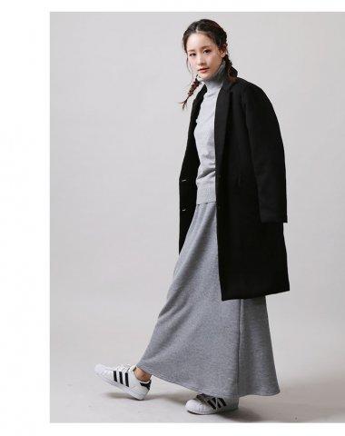 要出典 妊婦コーデ 秋 冬 マタニティファッションフレアロングスカート