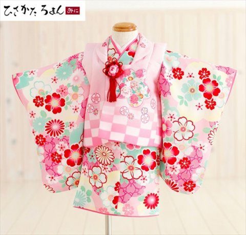 要出典 ひな祭り 衣装 レンタル着物 1歳女の子用 ひさかたろまん×ピンク市松