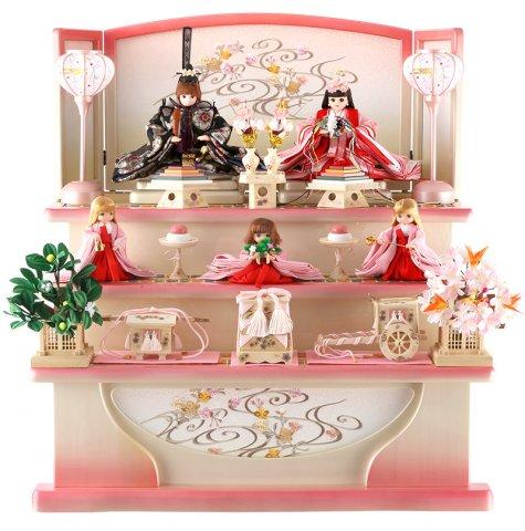 要出典 雛人形 人気 久月 雛人形 リカちゃん 三段飾り 五人飾り シリアル入