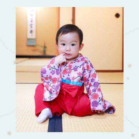 要出典 キョウエツ 袴ロンパース女の子ベビー着物