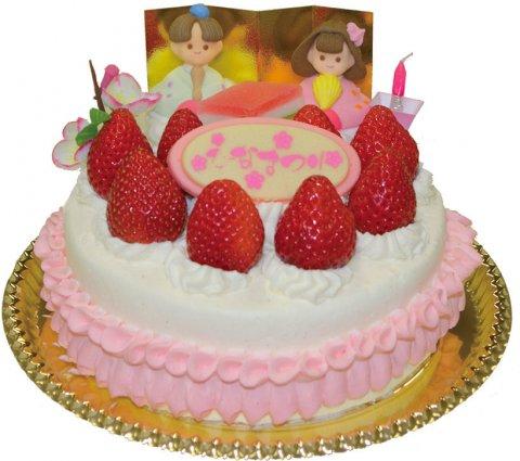 要出典 ひな祭り ケーキ  お菓子工房アントレ ひな祭りイチゴデコレーションケーキ