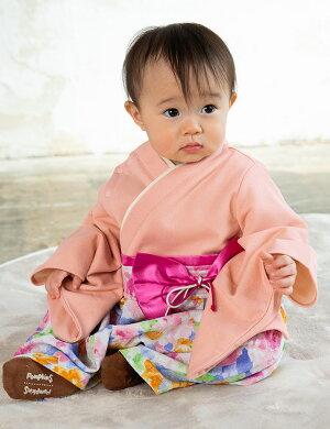 要出典 袴ロンパース 女の子 スウィートマミー(SWEET MOMMY)素肌に優しいオーガニックコットン ローズ柄 袴風カバーオール