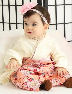 要出典 女の子 袴ロンパース スウィートマミー(Sweet Mommy)素肌に優しいオーガニックコットン 和柄袴風カバーオール