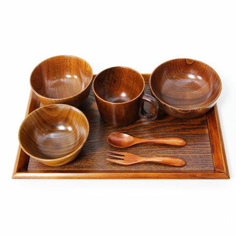 要出典 お食い初め食器 木製漆塗り 子供食器セット