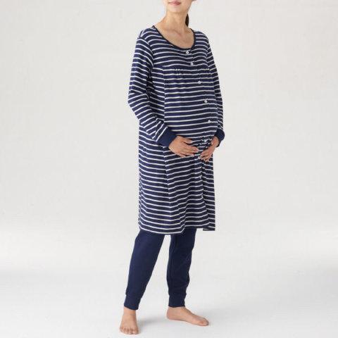 要出典 無印良品 マタニティ 脇に縫い目のないソフトスムース授乳に便利な長袖パジャマ(ロング)