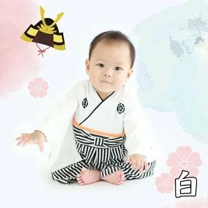 要出典 お食い初め 赤ちゃん 服装 袴ロンパース 白黒
