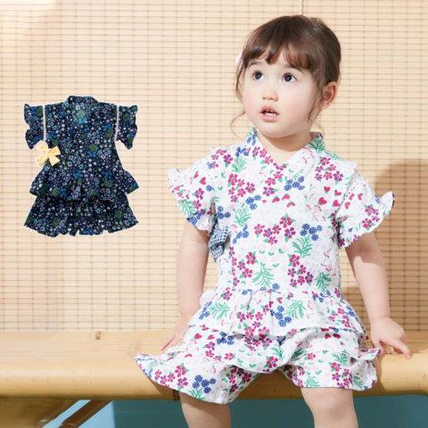 要出典 赤ちゃん 甚平 アンパサンド ベビー 小花柄 フリルスカート 甚平