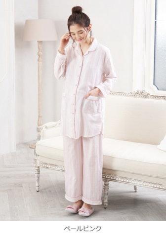 要出典 マタニティパジャマ エンジェリーベ 授乳しやすい Wガーゼ ストライプパイピングパジャマ