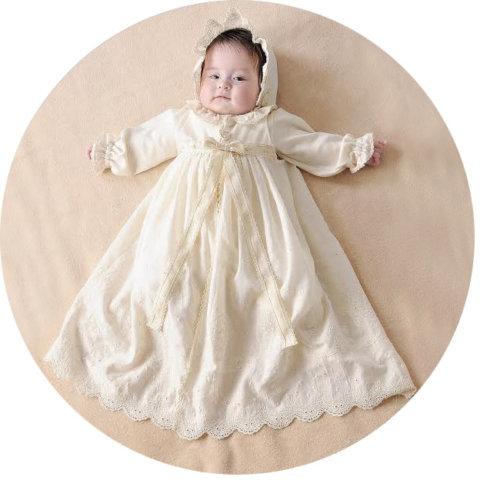 要出典 セレモニードレス アモローサ マンマ オーガニックコットン 新生児セレモニードレス 3点セット