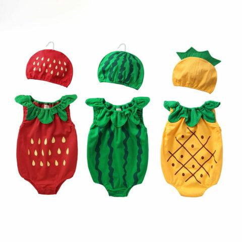 要出典 出産祝い 面白い アイテム 赤ちゃん用 ロンパース 果物コスプレ仮装 帽子付き